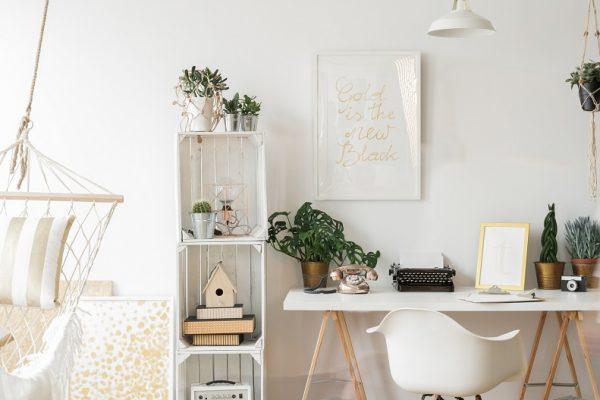 white desk with white bookshelf