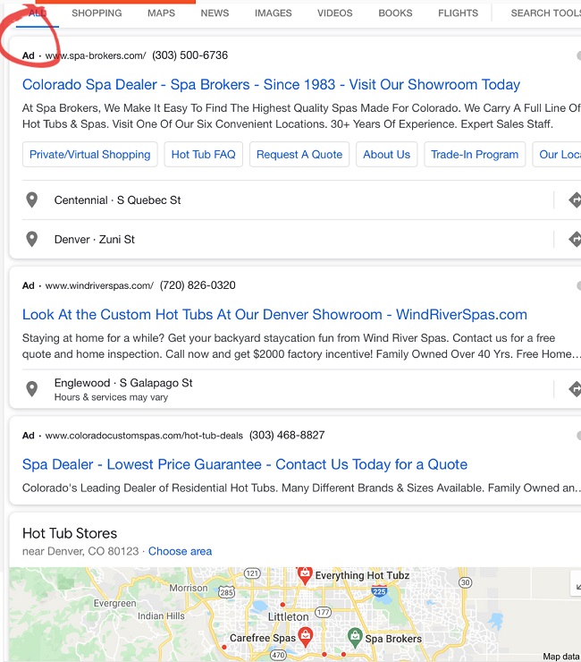 Screenshot of a Google Ads listing for a local spa dealer which places their business at the top of the search results