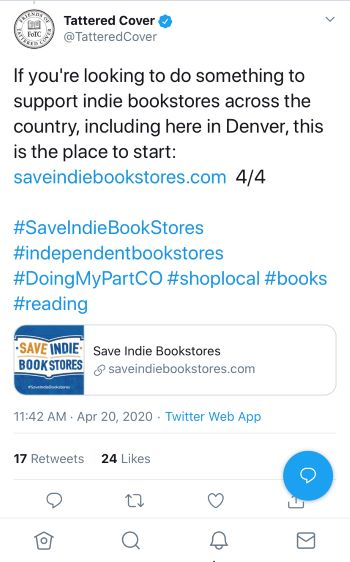 tweet from an independent bookstore promoting buying from local bookstores