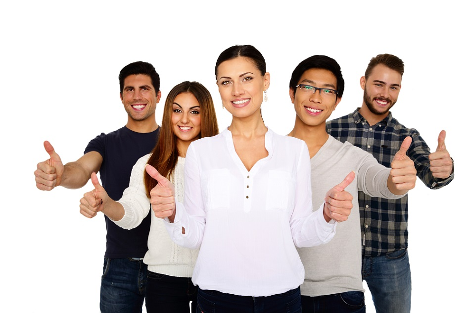 group of smiling young people with thumbs up