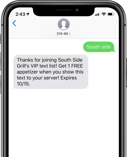 screenshot of a SMS text marketing message